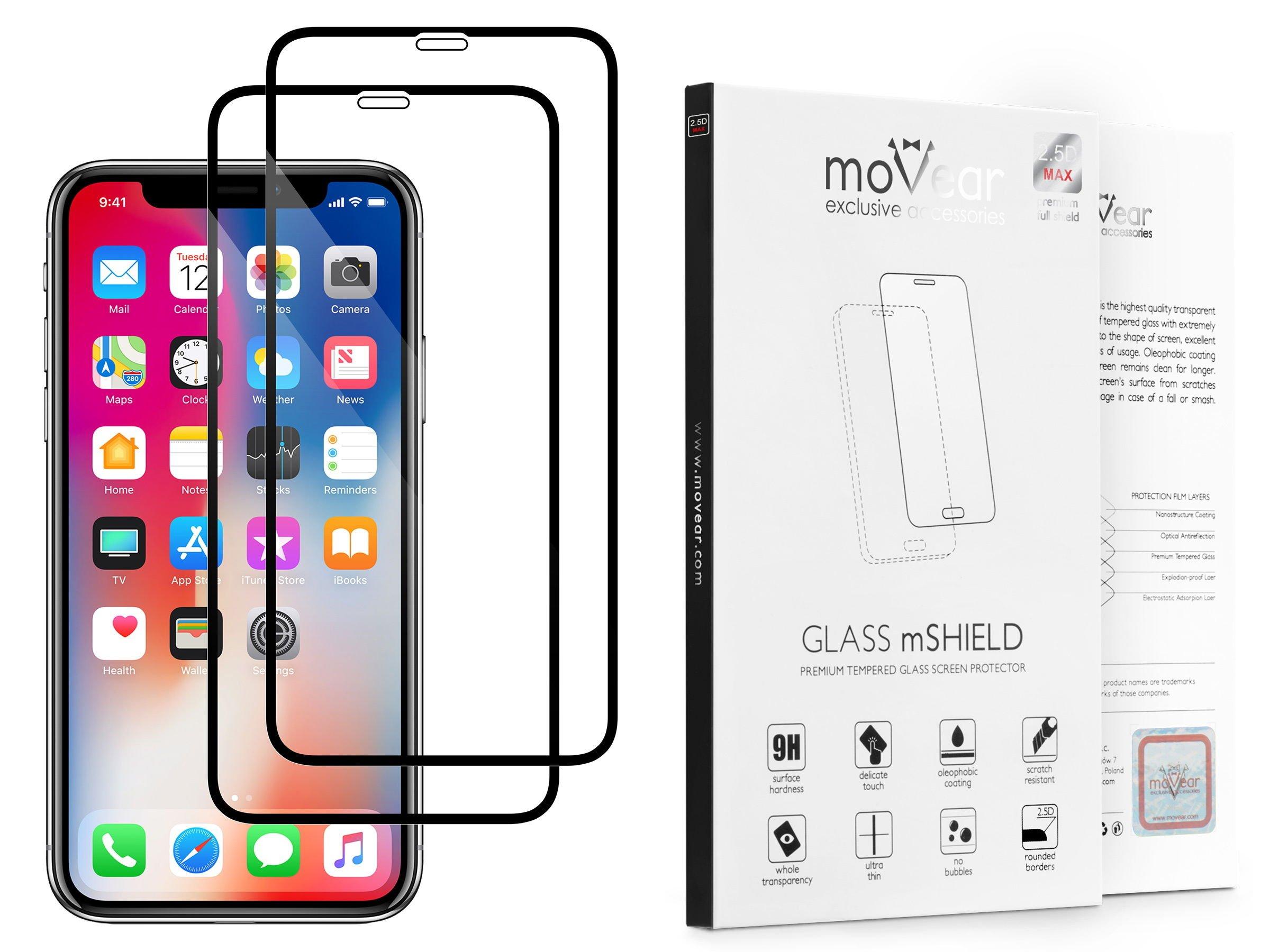 2 szt. | moVear Szkło Hartowane 2.5D MAX na Apple iPhone Xs / X | do etui, 9H | GLASS mSHIELD Czarny
