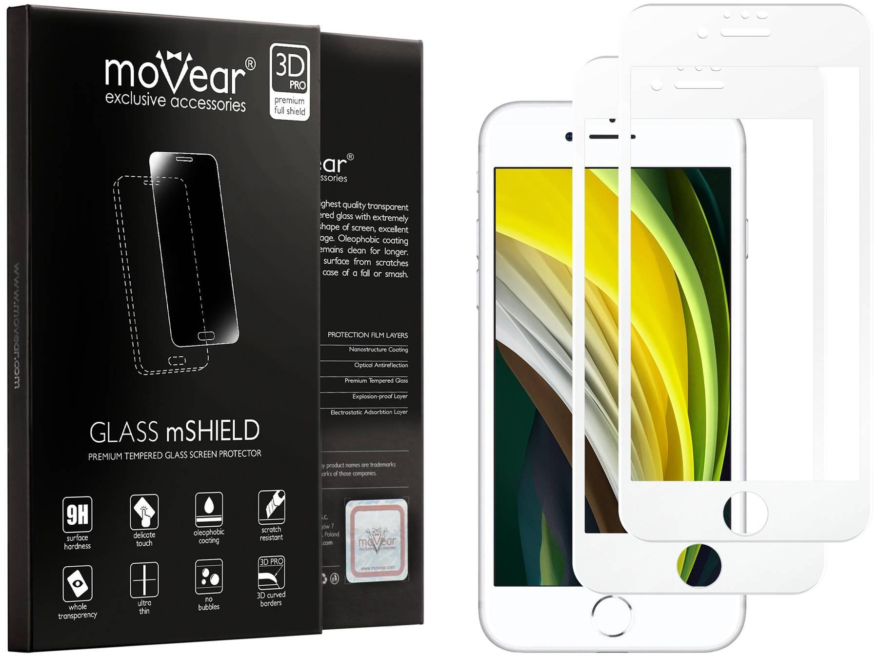 2 szt. | moVear Matowe Szkło Hartowane 3D PRO MATT na Apple iPhone 8 / 7 | na Cały Ekran, Antyrefleksyjne, 9H | GLASS mSHIELD Biały