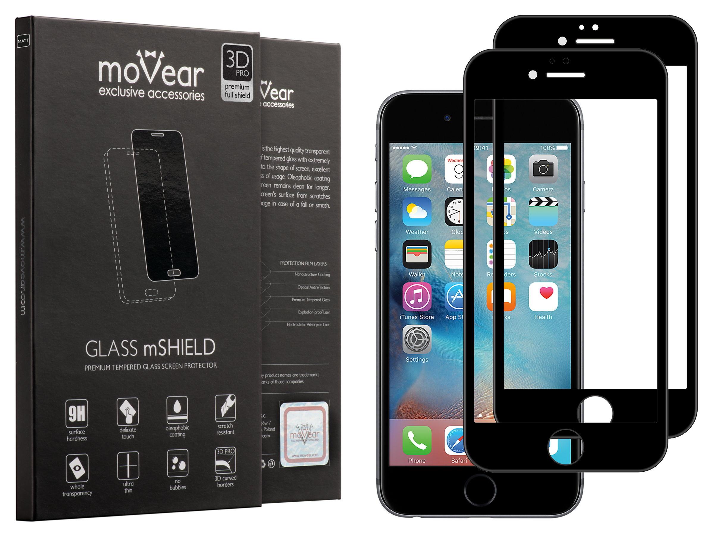 2 szt. | moVear Matowe Szkło Hartowane 3D PRO MATT na Apple iPhone 6 / 6s | na Cały Ekran, Antyrefleksyjne, 9H | GLASS mSHIELD Czarny
