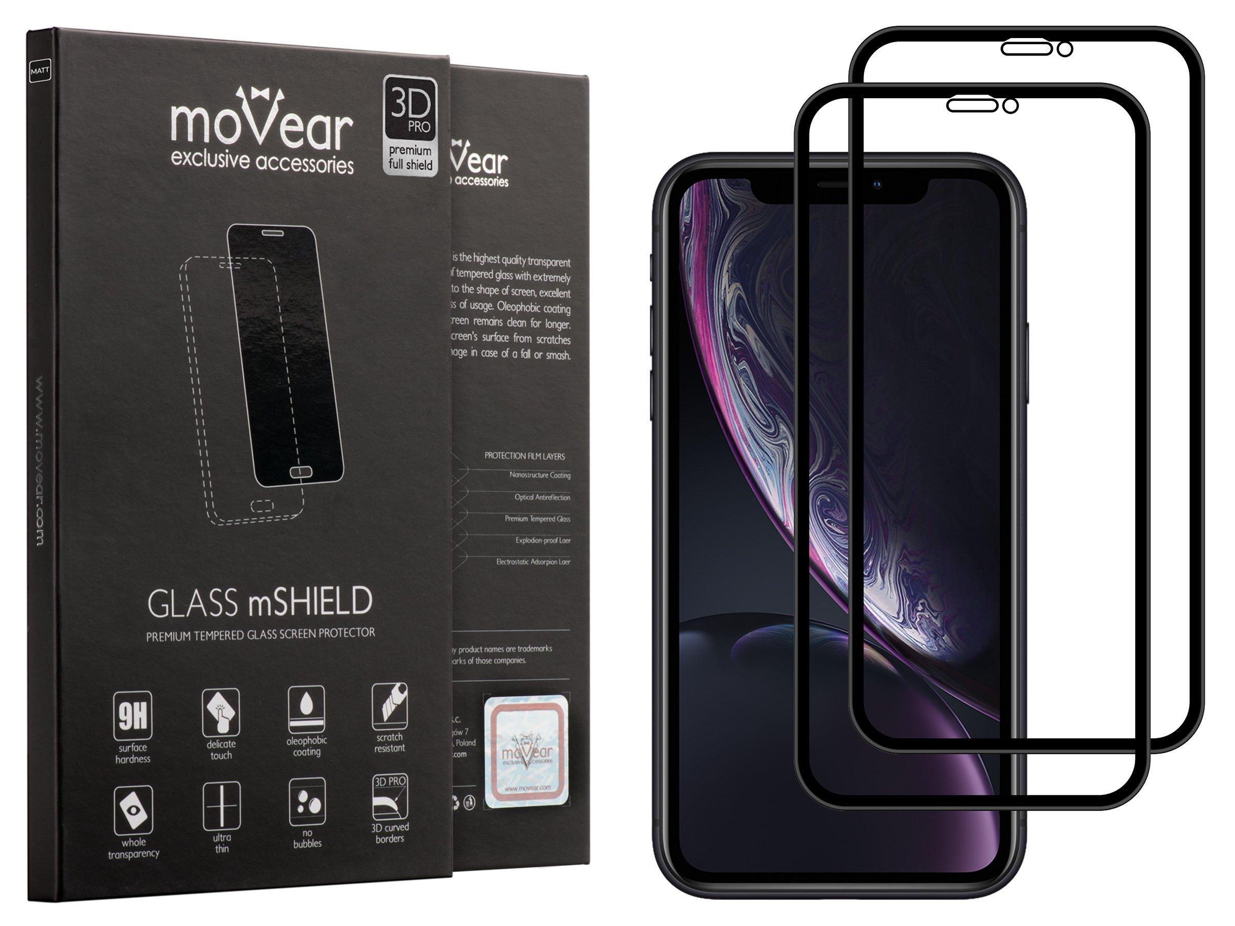 2 szt. | moVear Matowe Szkło Hartowane 3D PRO MATT na Apple iPhone Xr | na Cały Ekran, Antyrefleksyjne, 9H | GLASS mSHIELD Czarny