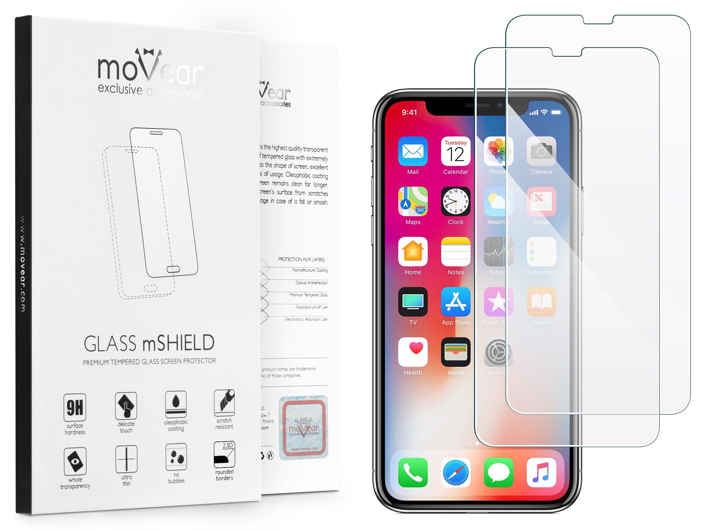 2 szt. | moVear Szkło Hartowane 2.5D na Apple iPhone Xs / X | do etui, 9H | GLASS mSHIELD Transparentny