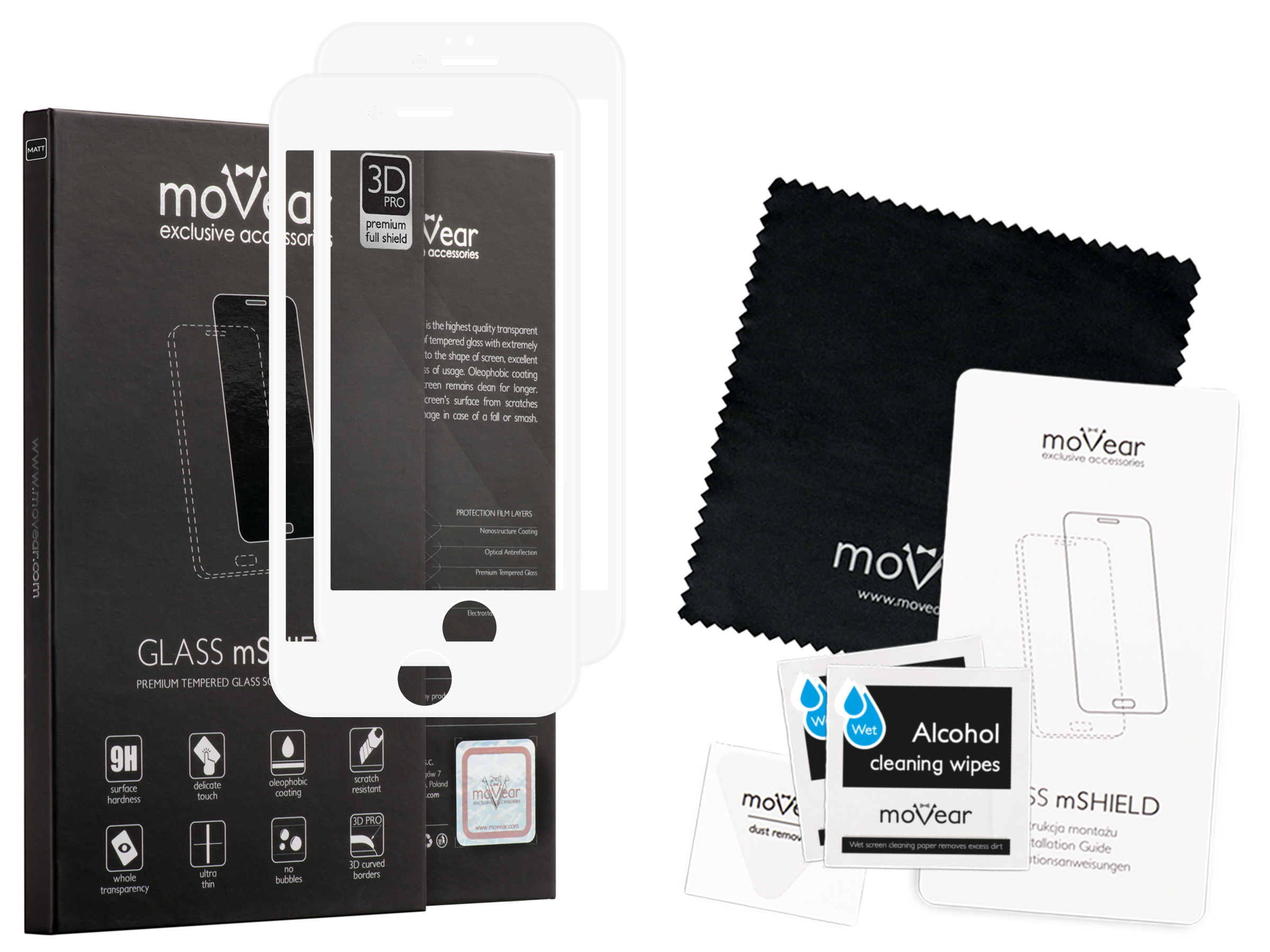 2 szt. | moVear Matowe Szkło Hartowane 3D PRO MATT na Apple iPhone 6 / 6s | na Cały Ekran, Antyrefleksyjne, 9H | GLASS mSHIELD Biały