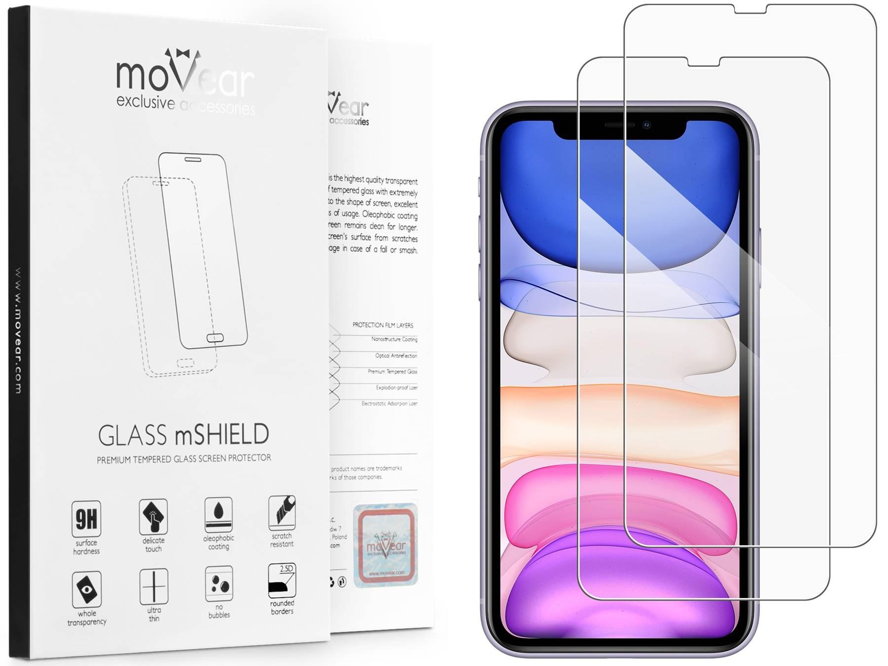 2 szt. | moVear Szkło Hartowane 2.5D na Apple iPhone Xr | do etui, 9H | GLASS mSHIELD Transparentny