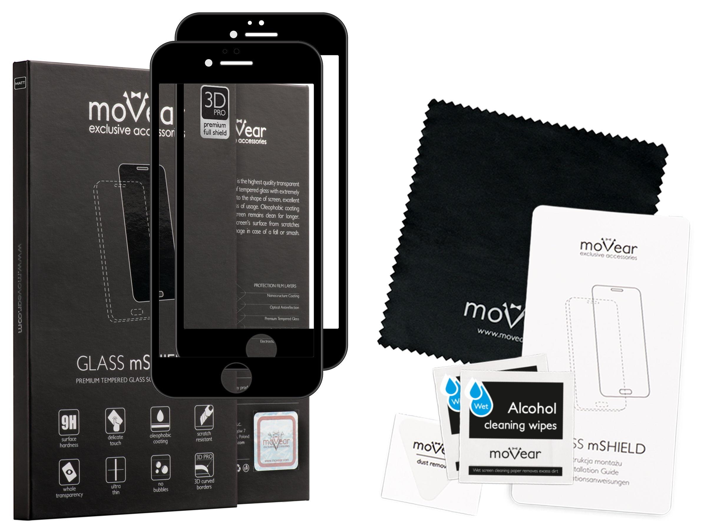 2 szt. | moVear Matowe Szkło Hartowane 3D PRO MATT na Apple iPhone 6 Plus / 6s Plus | na Cały Ekran, Antyrefleksyjne, 9H | GLASS mSHIELD Czarny