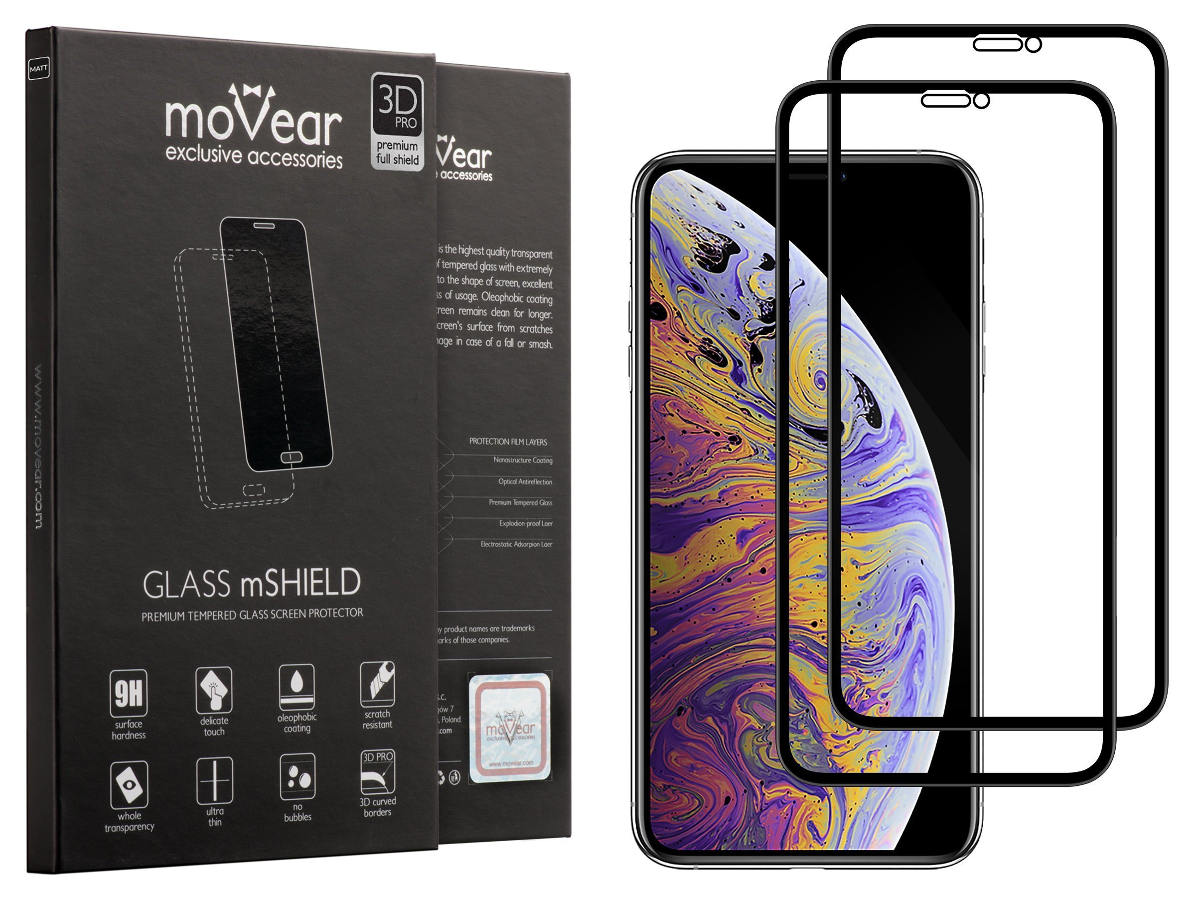 2 szt. | moVear Matowe Szkło Hartowane 3D PRO MATT na Apple iPhone Xs MAX | na Cały Ekran, Antyrefleksyjne, 9H | GLASS mSHIELD Czarny