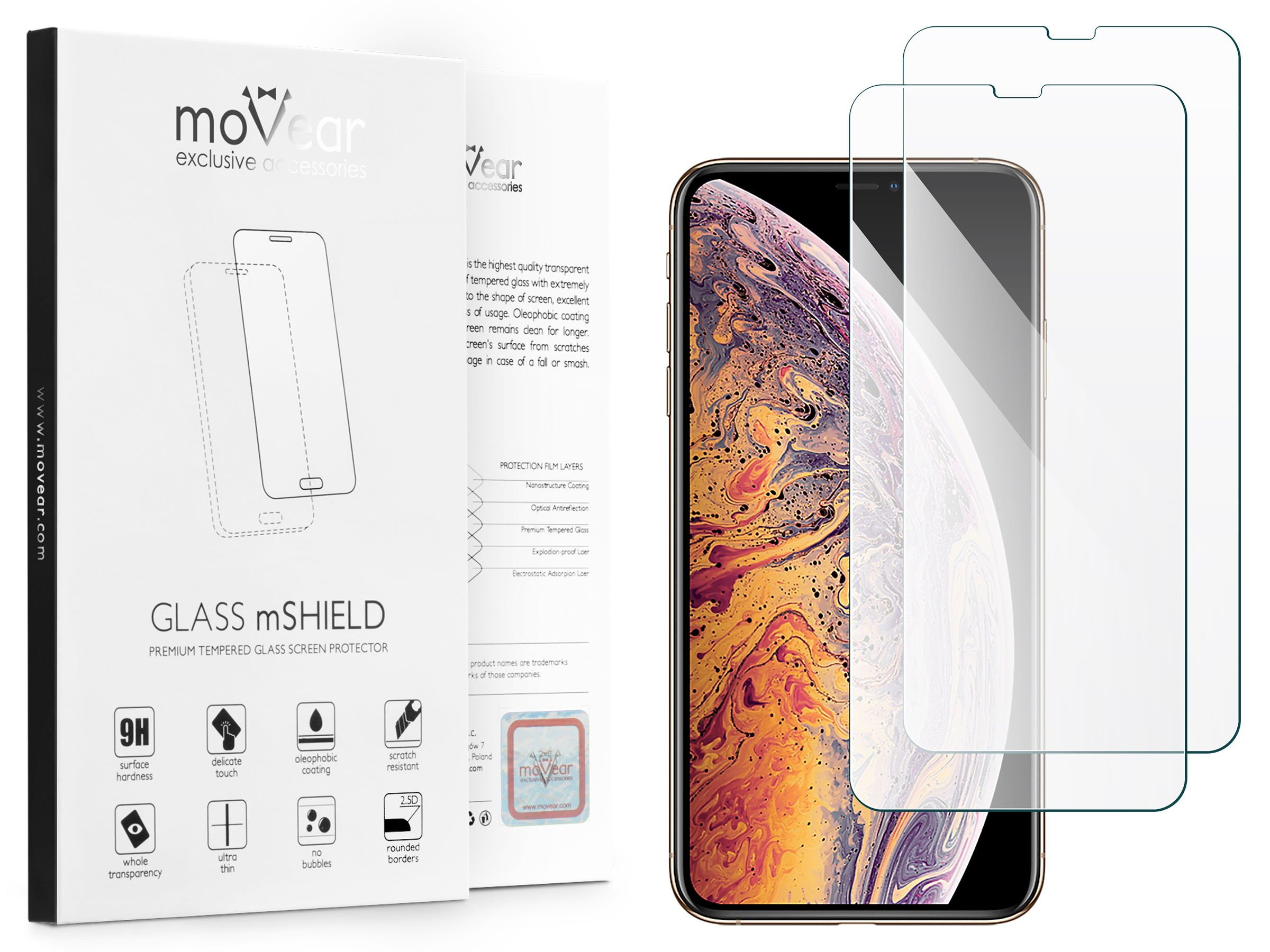2 szt. | moVear Szkło Hartowane 2.5D na Apple iPhone Xs MAX | do etui, 9H | GLASS mSHIELD Transparentny