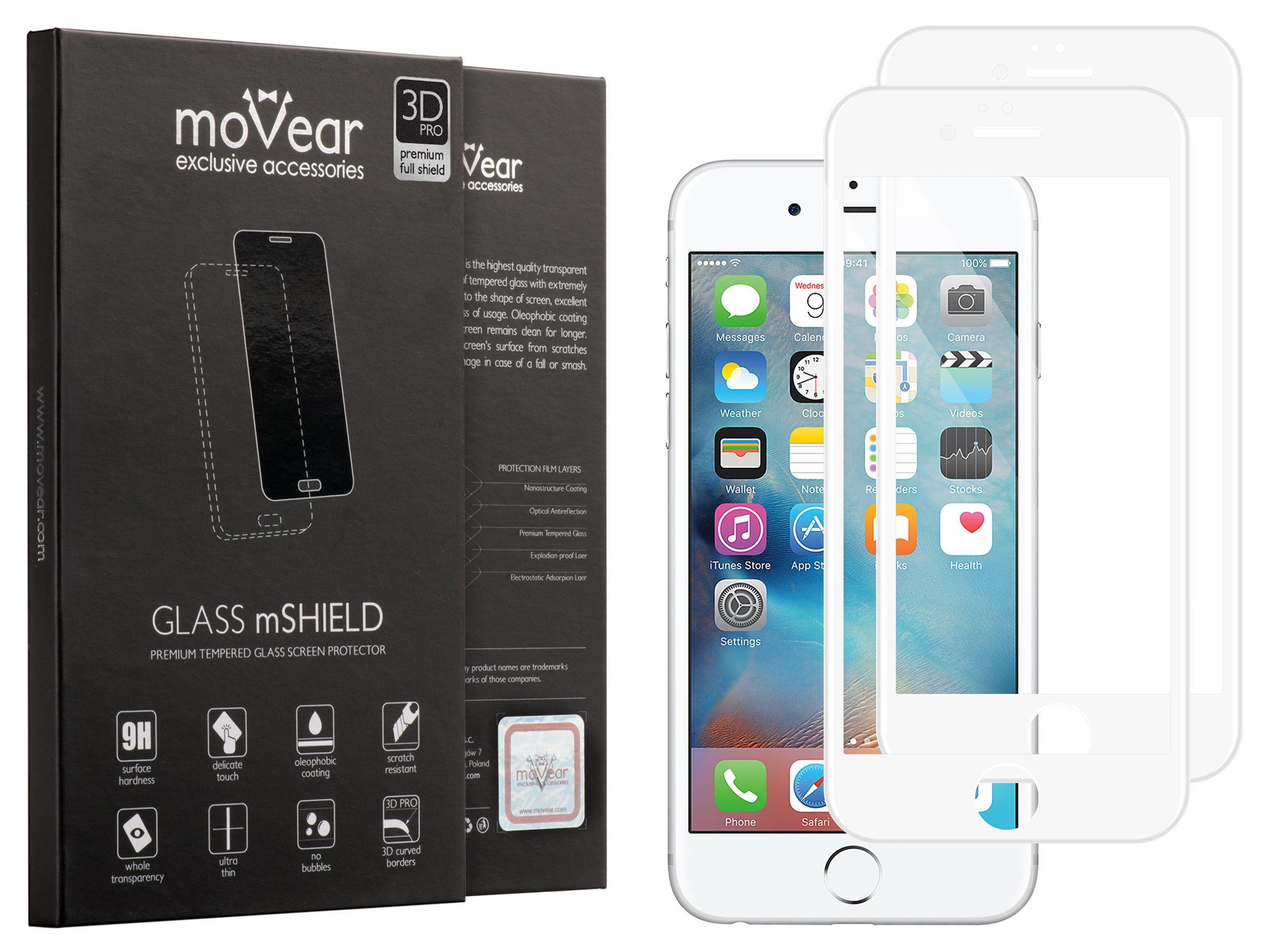 2 szt. | moVear Matowe Szkło Hartowane 3D PRO MATT na Apple iPhone 6 Plus / 6s Plus | na Cały Ekran, Antyrefleksyjne, 9H | GLASS mSHIELD Biały