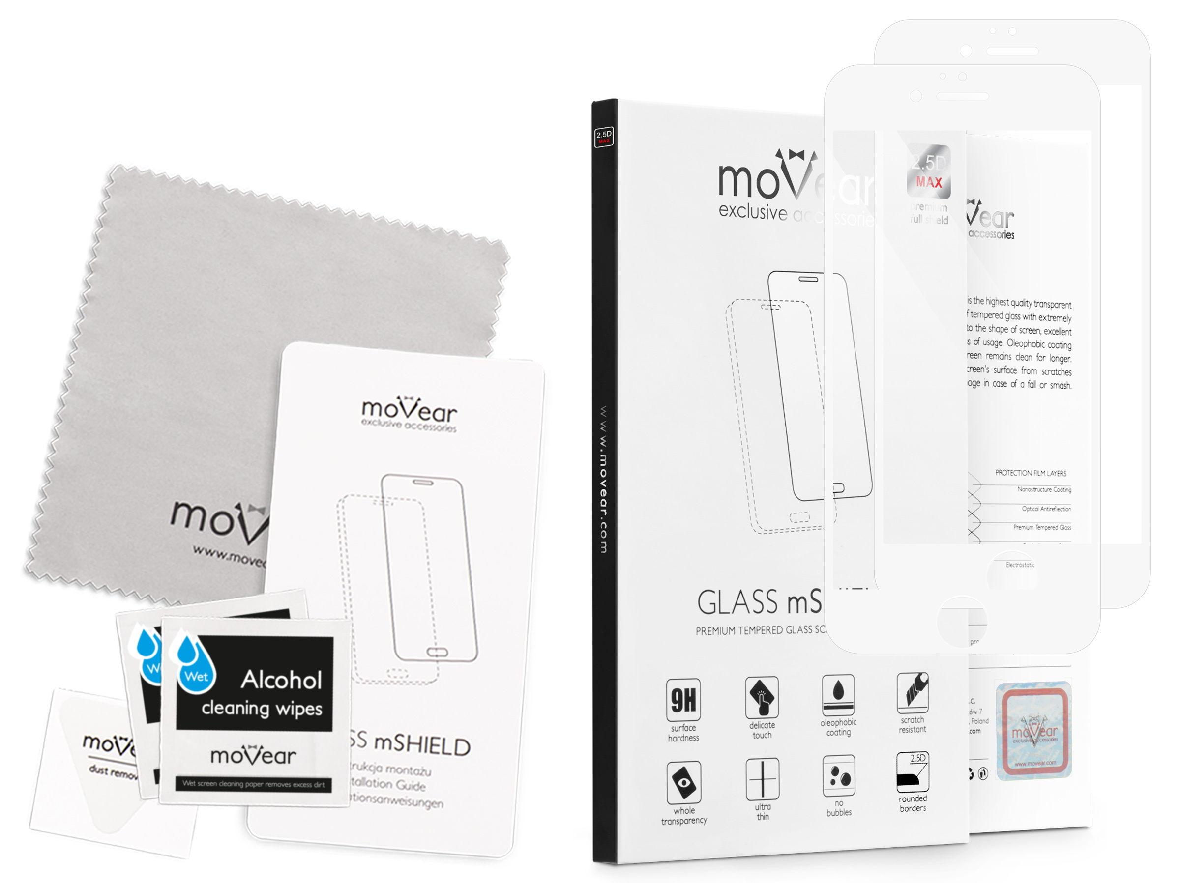 2 szt.   moVear Szkło Hartowane 2.5D MAX na Apple iPhone 6 Plus / 6s Plus   do etui, 9H   GLASS mSHIELD Biały