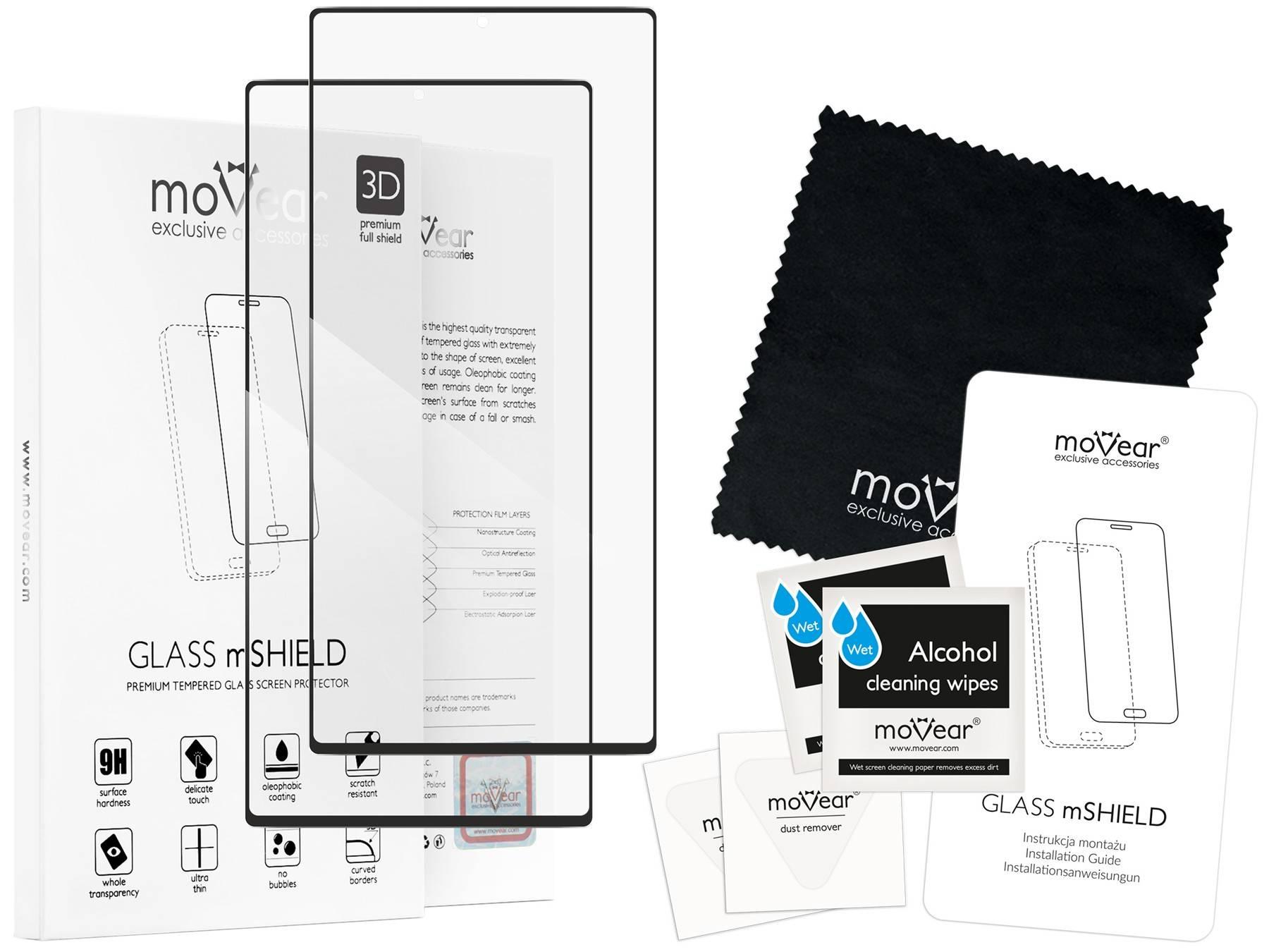 2 szt. | moVear Szkło Hartowane 3D na Samsung Galaxy Note 10+ (Plus) | na Cały Ekran, 9H | GLASS mSHIELD Czarny