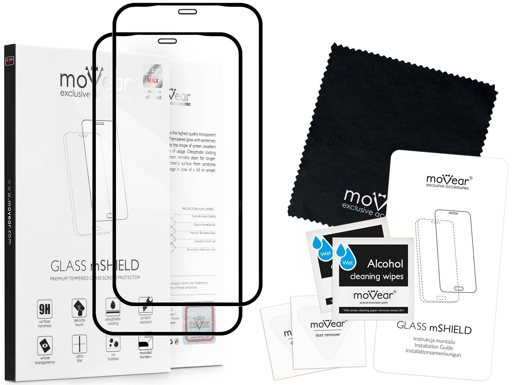 2 szt. | moVear Szkło Hartowane 2.5D MAX na Apple iPhone 11 Pro | do etui, 9H | GLASS mSHIELD Czarny