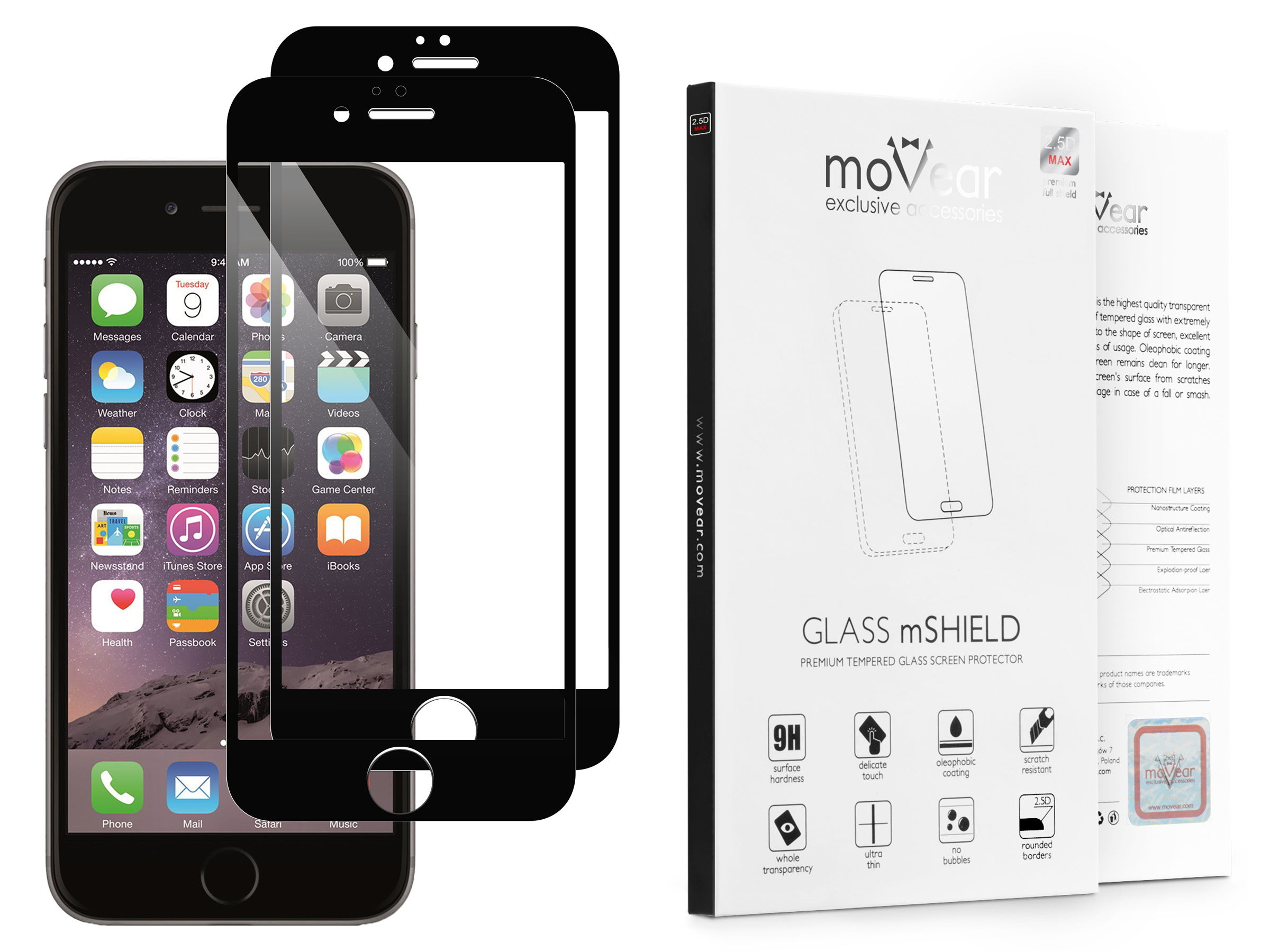 2 szt.   moVear Szkło Hartowane 2.5D MAX na Apple iPhone 6 Plus / 6s Plus   do etui, 9H   GLASS mSHIELD Czarny