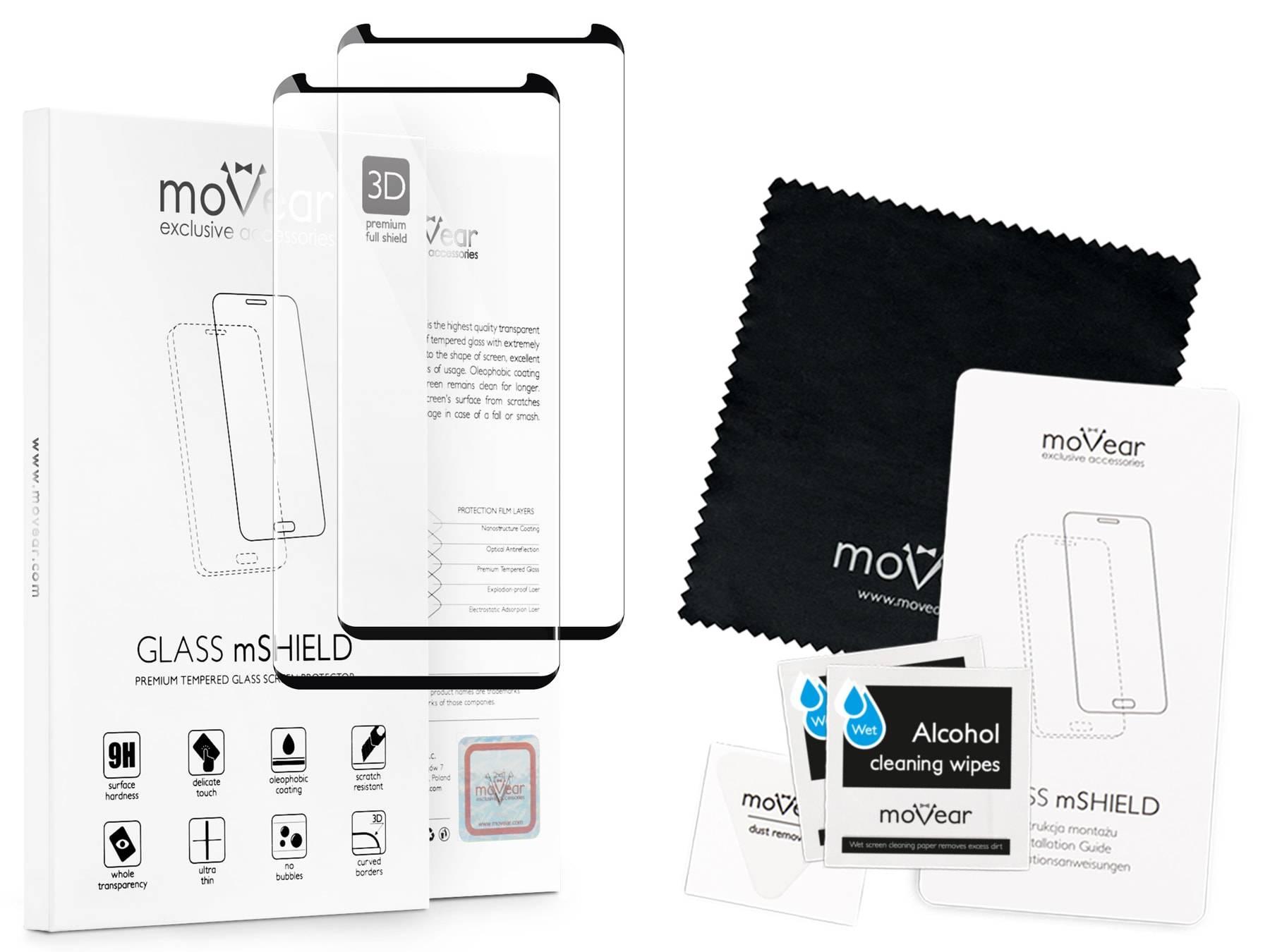 2 szt. | moVear Szkło Hartowane 3D cf na Samsung Galaxy S9 | do etui, 9H | GLASS mSHIELD Czarny