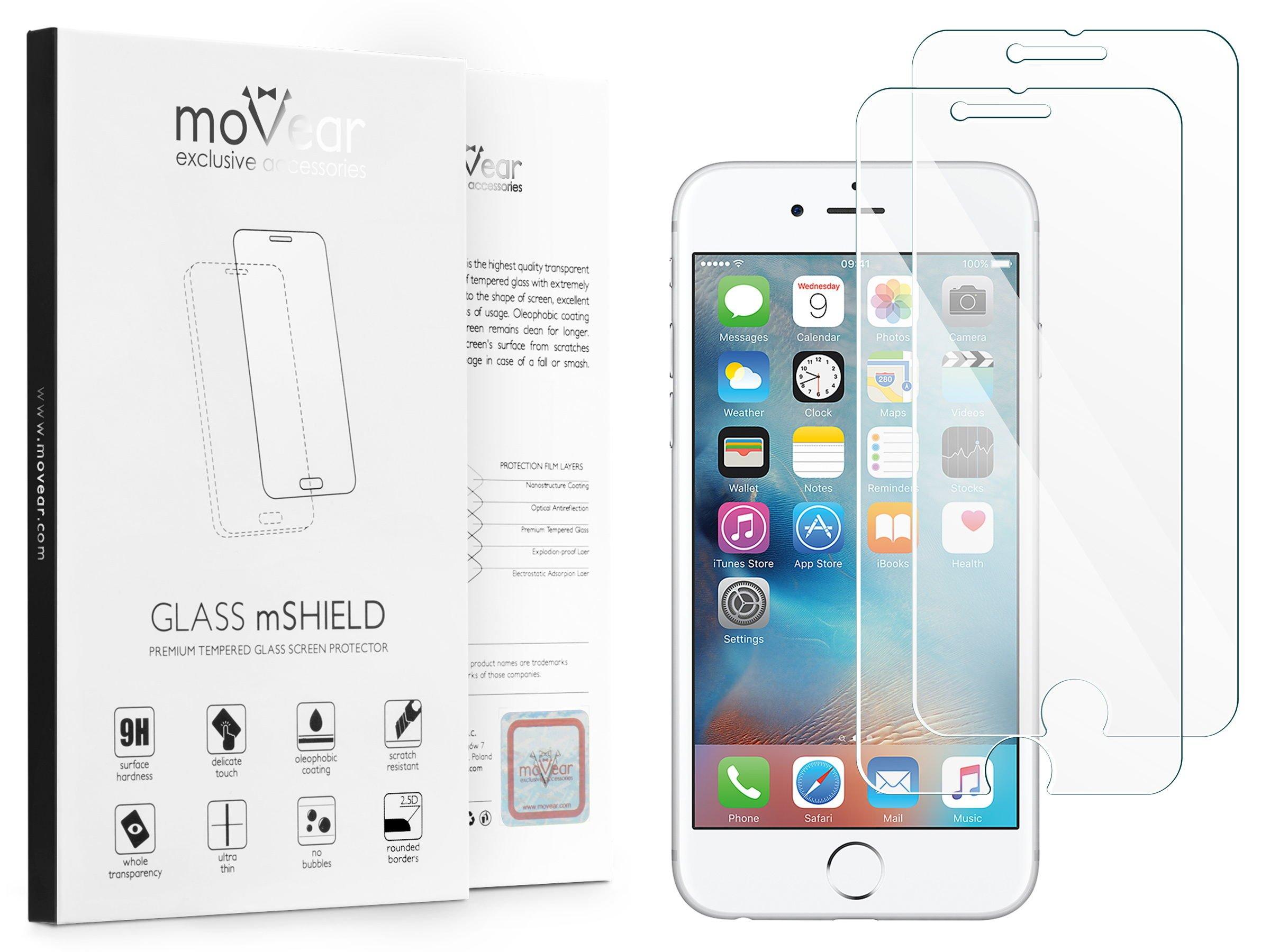 2 szt. | moVear Szkło Hartowane 2.5D na Apple iPhone 6 / 6s | do etui, 9H | GLASS mSHIELD Transparentny