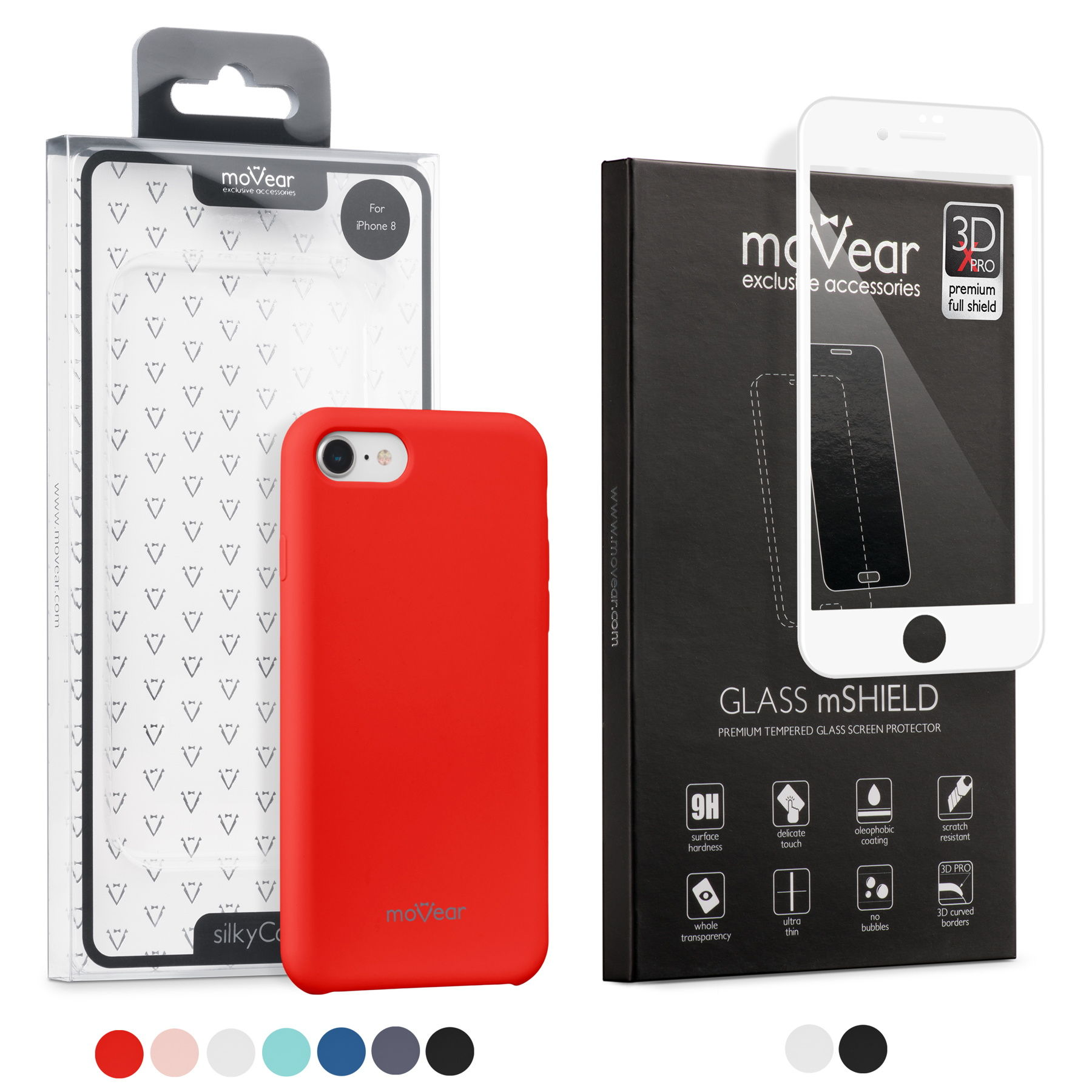 Zestaw moVear etui silkyCase + Szkło Hartowane moVear 3D X-PRO | iPhone 8/7