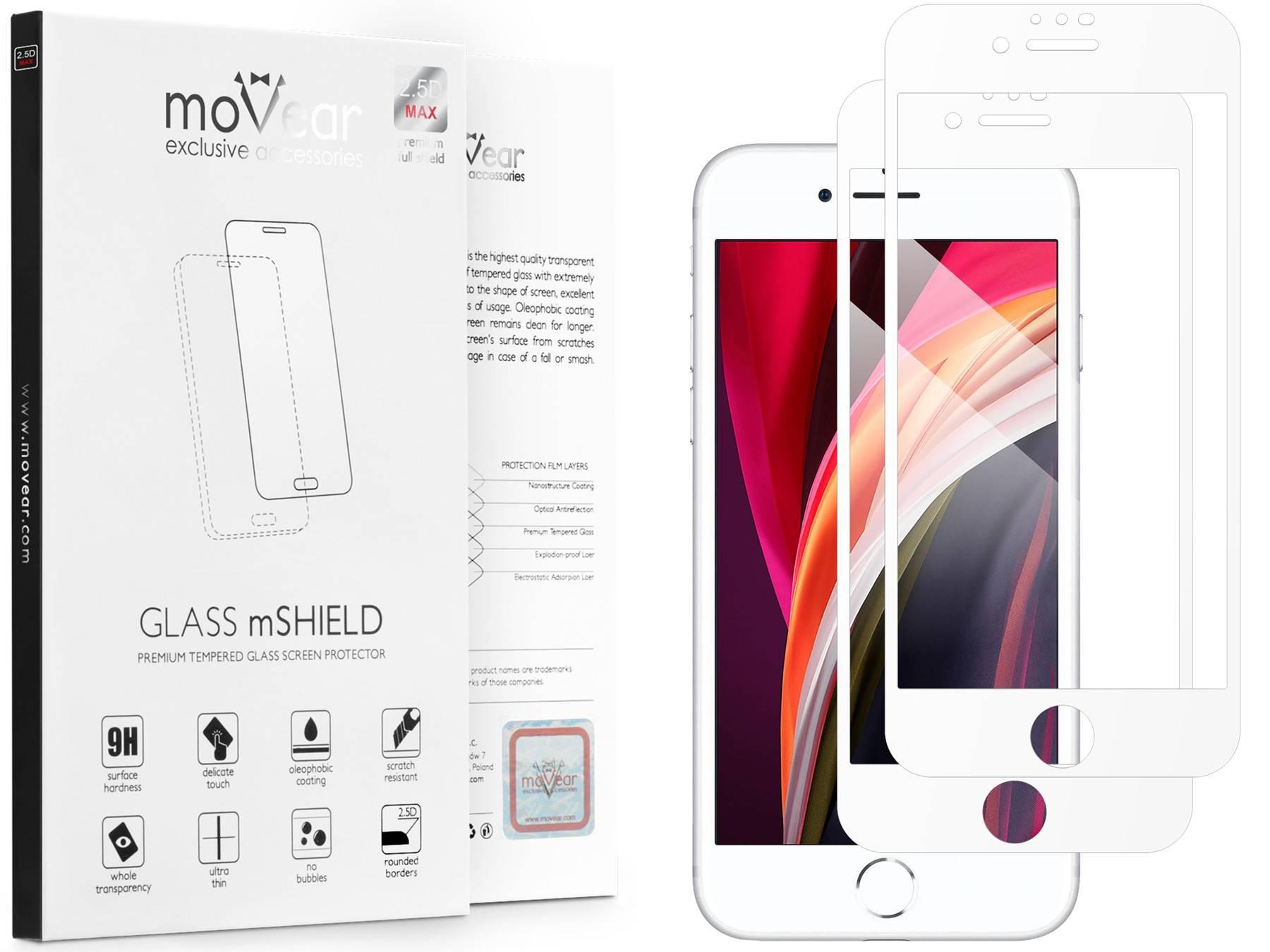 2 szt.   moVear Szkło Hartowane 2.5D MAX na Apple iPhone 8 / 7   do etui, 9H   GLASS mSHIELD Biały