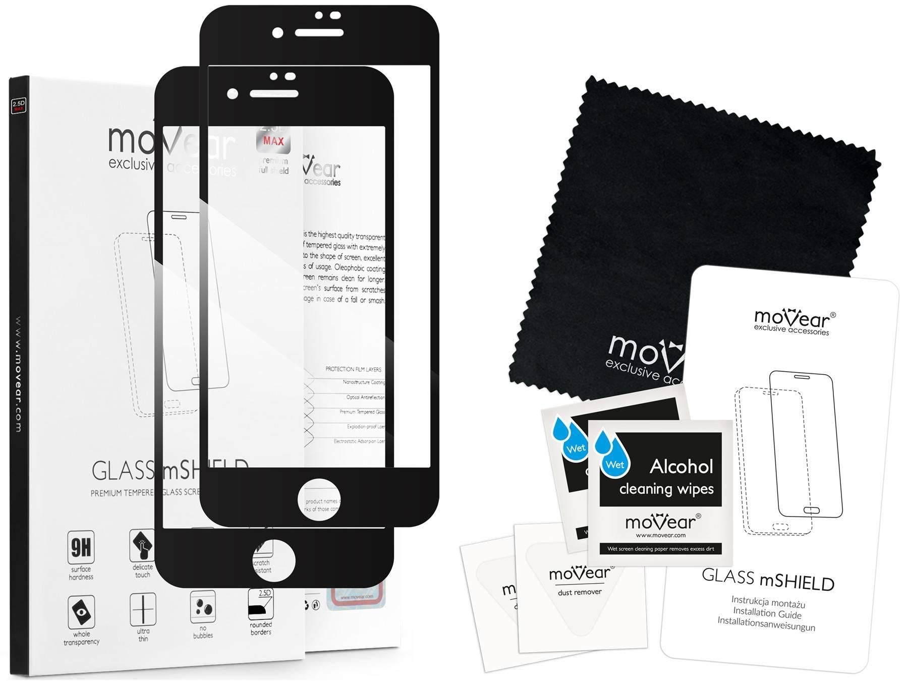 2 szt.   moVear Szkło Hartowane 2.5D MAX na Apple iPhone 8 / 7   do etui, 9H   GLASS mSHIELD Czarny