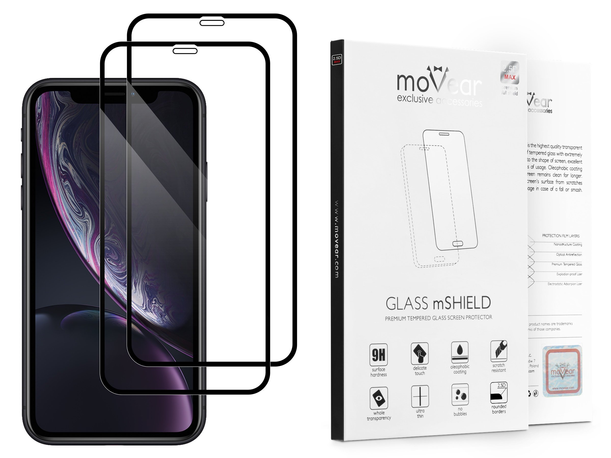 2 szt.   moVear Szkło Hartowane 2.5D MAX na Apple iPhone Xr   do etui, 9H   GLASS mSHIELD Czarny