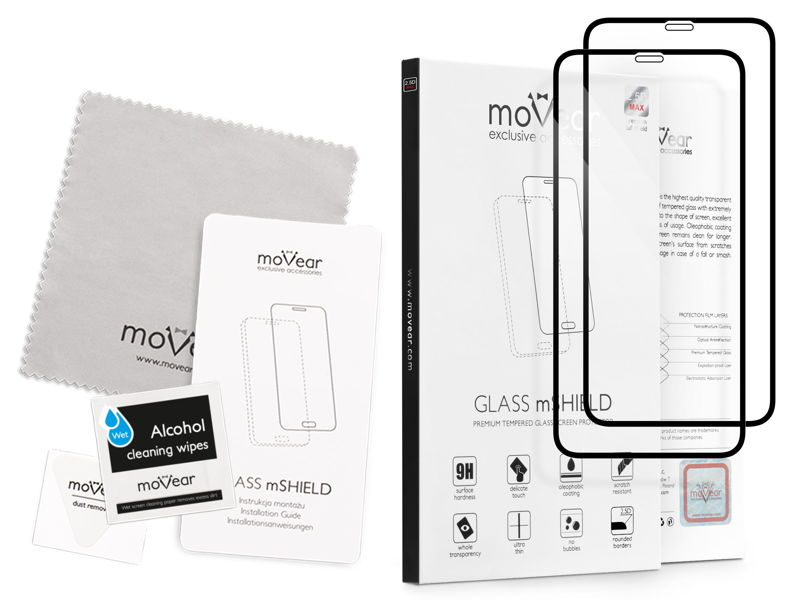 2 szt. | moVear GLASS mSHIELD 2.5D MAX na Apple iPhone Xs MAX | Szkło Hartowane do etui, 9H