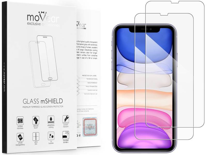 2 szt. | moVear GLASS mSHIELD 2.5D na Apple iPhone Xr | Szkło Hartowane do etui, 9H