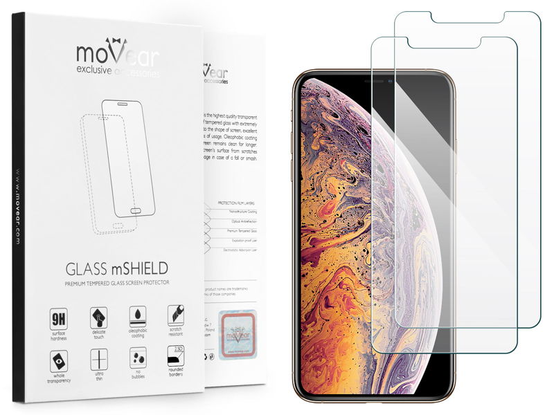 2 szt. | moVear GLASS mSHIELD 2.5D na Apple iPhone Xs MAX | Szkło Hartowane do etui, 9H
