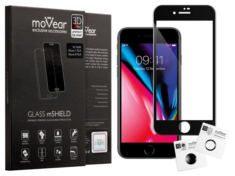 moVear GLASS mSHIELD 3D X-PRO do Apple iPhone 8/7 | Szkło Hartowane na Cały Ekran