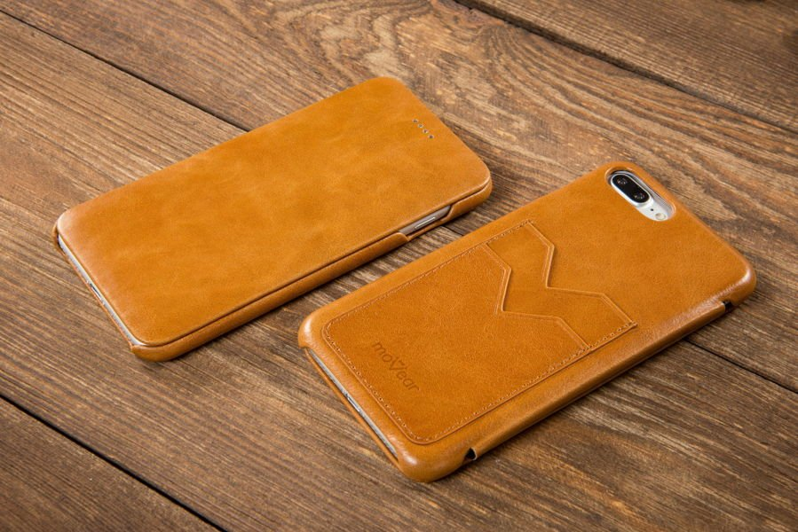 moVear flipSide S+ Skórzane Etui do Apple iPhone 8 Plus / 7 Plus | Skóra Vintage | Jasnobrązowy